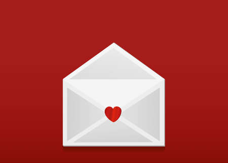 departing: Open envelope with departing red hearts. Valentines Day. Love inside. Vector illustration. Greeting card