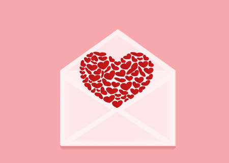 departing: Open envelope with departing red heart. Valentines Day. Love inside. Vector illustration on pink background. Greeting card