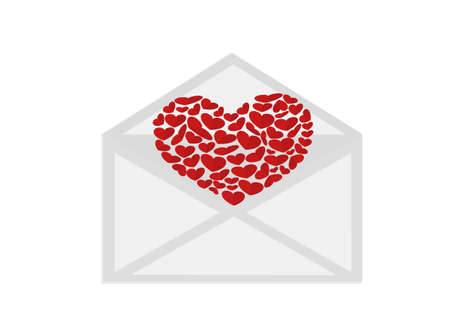 Open envelope with departing red heart. Valentines Day. Love inside. Vector illustration on white background. Greeting card