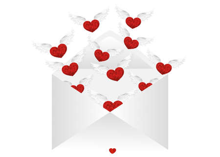departing: Open envelope with departing hearts with wings. Valentines Day. Love inside. Vector illustration. Greeting card Illustration