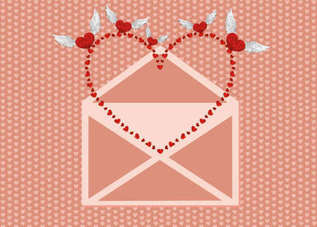 Open the envelope and pulled out the bird from his red heart. Valentines Day. Love inside. Vector illustration on pink background. Greeting card