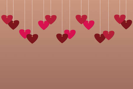 Red hearts and blank paper with a picture hanging on a ribbon. Valentines Day. Vector illustration. Greeting card with empty space for your label or advertising.