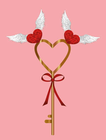 The Magic Key from heart. Birds pick it up. Valentine's Day. Greeting card. Vector illustration on a pink background Stock Illustratie