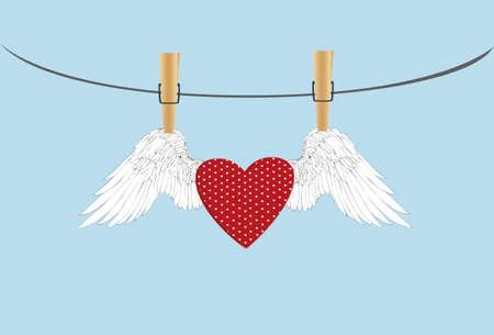 Red heart with wings hanging on a rope. clothes pegs hold it aloft. St. Valentines Day. Greeting card. Vector illustration on a blue background