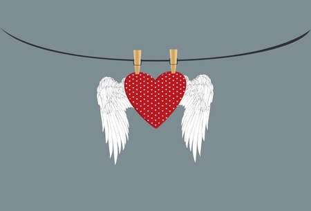 Red heart with wings hanging on a rope. clothes pegs hold it aloft. St. Valentines Day. Greeting card. Vector illustration on a grey background