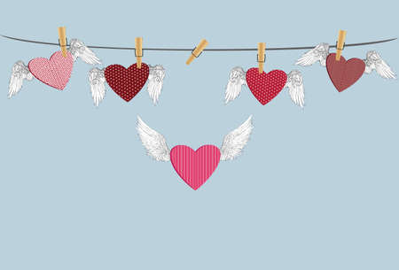 clothes pegs: Red  with wings hanging on the rope and one flying. Pins keep them suspended. St. Valentines Day. Greeting card. Vector illustration on a blue background