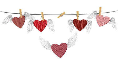 clothes pegs: Red  with wings hanging on the rope and one flying. Pins keep them suspended. St. Valentines Day. Greeting card. Vector illustration on a white background Illustration