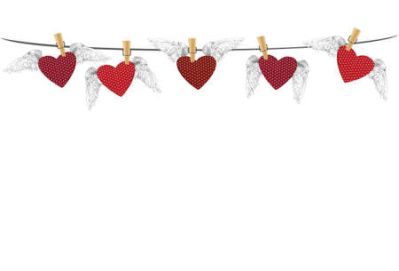 clothes pegs: Five Red hearts with wings hanging on a rope. clothes pegs hold it aloft. St. Valentines Day. Greeting card. Vector illustration on a white background