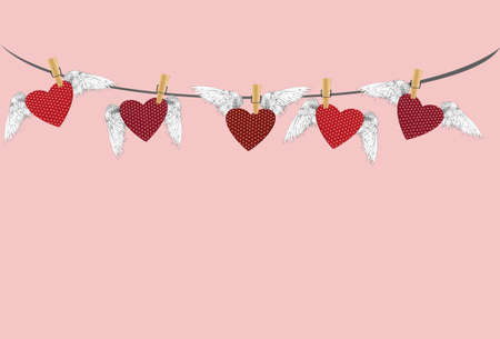 Five Red hearts with wings hanging on a rope. clothes pegs hold it aloft. St. Valentines Day. Greeting card. Vector illustration on a pink background