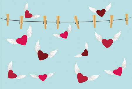 Red heart with wings flying around the rope with clothespins. Free flight. Valentines Day. Greeting card. Vector illustration on a blue background Illustration