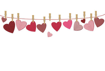 Red hearts  with a picture hanging on a rope. Valentines Day. Vector illustration. Greeting card with empty space for your label or advertising. On a white background Ilustrace