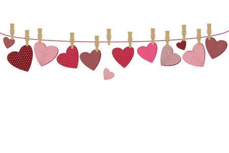 Rode harten met een afbeelding opknoping op een touw. Valentijnsdag. Vector illustratie. Wenskaart met lege ruimte voor uw label of reclame. Op een witte achtergrond