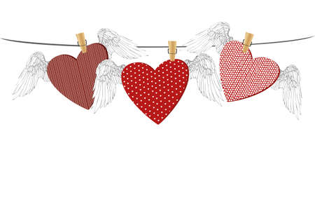 Red hearts with wings hanging on a rope. clothes pegs hold it aloft. St. Valentines Day. Greeting card. Vector illustration on a white background