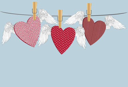 Red hearts with wings hanging on a rope. clothes pegs hold it aloft. St. Valentines Day. Greeting card. Vector illustration on a blue background