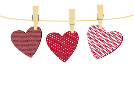 Red heartsr with a picture hanging on a rope. Valentines Day. Vector illustration. Greeting card  On a white background