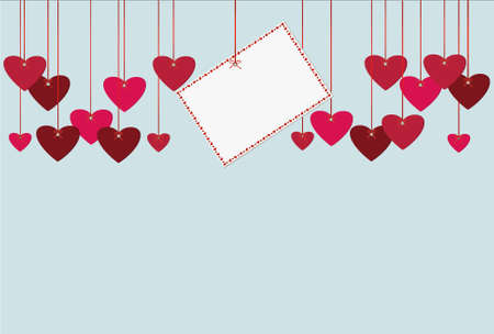 Red hearts and blank paper with a picture hanging on a ribbon. Valentines Day. Vector illustration. Greeting card with empty space for your label or advertising. On a blue background