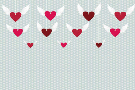 Red hearts with wings hanging on a rope. St. Valentines Day. Greeting card. Vector illustration on a blue  background