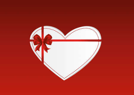 Paper heart with a red bow and ribbon. Valentines Day. Greeting card. Empty space for your ad or inscriptions. Vector illustration on a red background Illustration