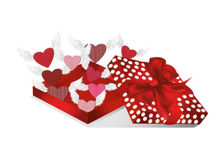 Open gift red box with departing hearts with wings. Valentines Day. Greeting card. Free space vector illustration isolate on a white background