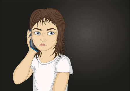 Little serious and angry girl talking on the phone while holding a mobile to the ear. Portrait of a child who listens carefully to what they say in the cell. Vector Illustration in pop art style on dark background. Empty space for your advertising