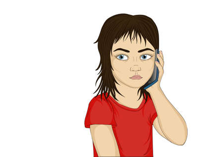 Little serious and angry girl talking on the phone while holding a mobile to the ear. Portrait of a child who listens carefully to what they say in the cell. Vector Illustration in pop art style on white background. Empty space for your advertising