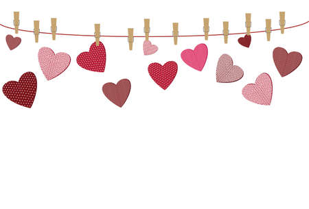 A red heart with a picture hanging on a rope with clothespins, and break away from them. Valentines Day. Vector illustration. Greeting card with empty space for the label or advertising. On a white background