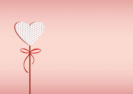 ribbin: Red heart on a stick with bow and ribbon. Valentines Day. Vector illustration. Greeting card with empty space for the text or advertising. On a pink background