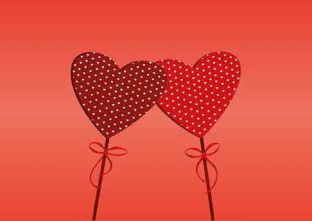 ribbin: Two red hearts on a stick with bow and ribbon. Valentines Day. Vector illustration. Greeting card with empty space for the text or advertising. On a red background Illustration