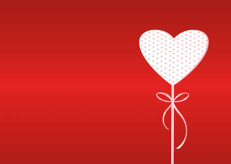 ribbin: Red heart on a stick with bow and ribbon. Valentines Day. Vector illustration. Greeting card with empty space for the text or advertising. On a red background