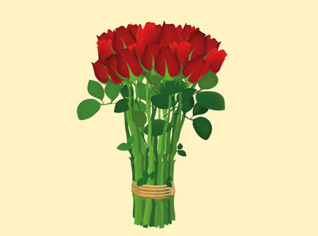 Bouquet of red flowers. Roses tied with a rope. Greeting card for Valentines Day wedding and birthday. Empty space for your text or advertisement. Vector illustration on a yellow background Illustration
