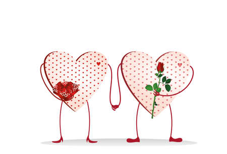 Two Valentine Ornamental heart with feet are kept in hand. A bouquet of flowers and a box with a bow and ribbon. Send a gift to each other on Valentines Day. Greeting card. Empty space for your ad or text. Vector illustration on white background Illustration