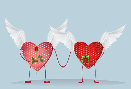 other space: Two Valentine Ornamental heart with wings and feets are kept in hand. A bouquet of flowers and a box with a bow and ribbon. Send a gift to each other on Valentines Day. Greeting card. Empty space for your ad or text. Vector illustration on white backgrou