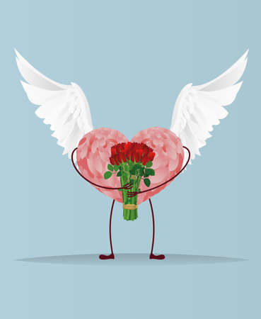 Decorative heart with wings and legs holding a bouquet of flowers. Gift on Valentines Day. Greeting card. Empty space for your ad or text. Vector illustration on blue background Illustration