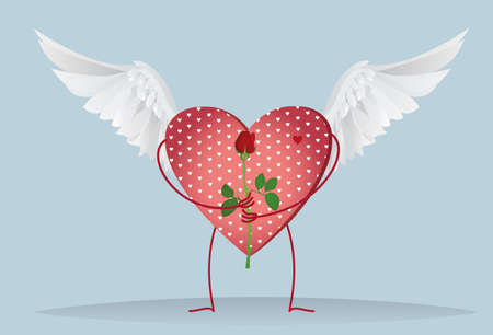 Decorative heart with wings and legs holding a one red rose flower. Gift on Valentines Day. Greeting card. Empty space for your ad or text. Vector illustration on blue background