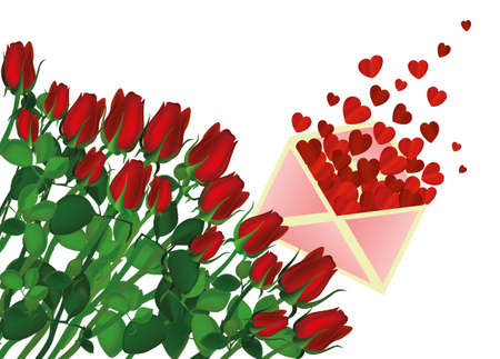 Beautiful red flowers. Roses with Open envelope with departing red hearts. Empty space for your ad or inscriptions or messages. Gift on Valentines wedding and birthday. Free place. Vector illustration on a white background