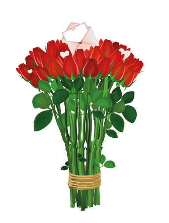 bunch of hearts: Bouquet of red flowers. Roses tied with a rope with envelope and blank and hearts. Empty space for your ad or inscriptions or messages. Postcard on Valentines wedding and birthday. Free place. Vector illustration on a white background Illustration