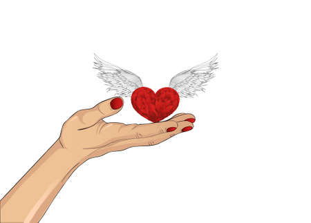 alms: Gesture open palm. Hand gives heart with wings. St. Valentines Day. The concept of love. Vector illustration on white background
