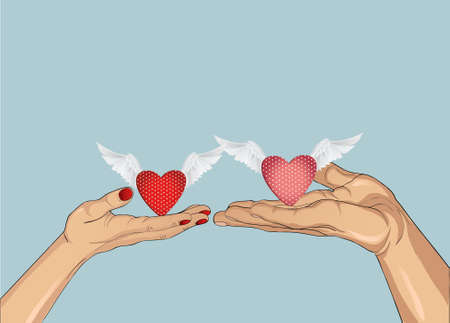 Hands of a man and a woman is drawn into each others hands a heart with wings. Present day Valenitina or wedding. Greeting card with empty space for your ad or text. Vector illustration isolated on blue background Illustration