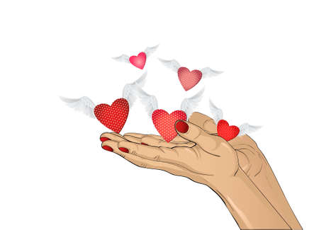 Gesture open palms. From stacked hands fly red heart with wings. Vector illustration. Valentines Day. love concept. Greeting card