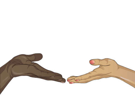 Hands of a black man and a white woman is drawn into each others hands empty space. They touch each other Free space for your ad or text. Vector illustration isolated on white background