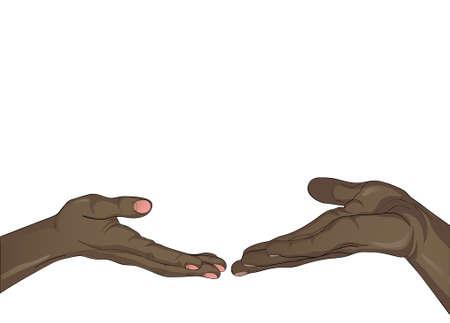 Les mains noires d'un homme et d'une femme sont attirées dans l'espace vide des mains de l'autre. Ils se touchent Espace libre pour votre annonce ou texte. Illustration vectorielle isolée sur fond blanc