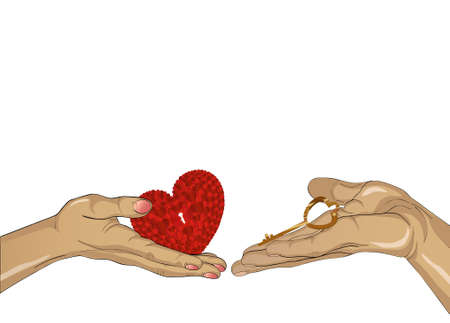 Hands of a man and a white woman drawn into each other. Stretch out in the open palms of the heart and the key to it. They relate to each other. Free space for your ad or text. Vector illustration on white background