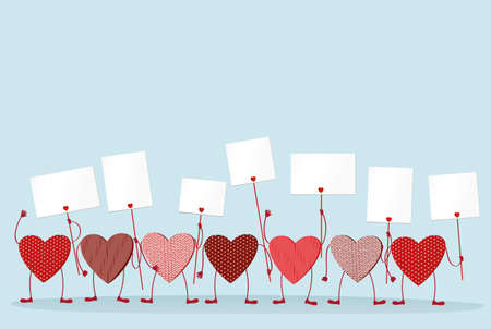 blanks: Red hearts with legs and hands holding empty blanks  pages for your text or advertisement. Greeting card on Valentines Day. Vector illustration on a white background Illustration