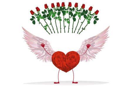 vómito: Corazón rojo con patas y hermosas alas. Levanta las manos y arroja flores rosas rojas. Tarjeta de felicitación para el día de San Valentín. Espacio vacío para su escritura o publicidad. Ilustración vectorial sobre fondo blanco