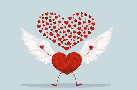 vómito: Corazón rojo con las piernas y las alas hermosas. Levanta las manos y arroja muchos corazones rojos. Tarjeta de felicitación para el día de San Valentín. Espacio vacío para su escritura o publicidad. Ilustración vectorial sobre fondo blanco