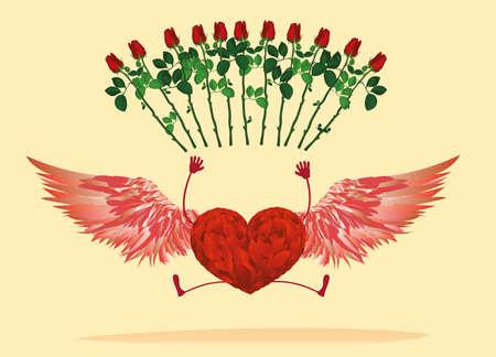 vómito: Corazón rojo con las piernas y las alas hermosas. rebotó y levanten la mano y tiró flores rosa roja.