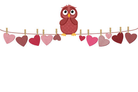 A red heart with a picture hanging on a rope. Cute owl sitting and color. Valentines Day. Vector illustration. Greeting card with empty space for the label or advertising. On a white background Illustration