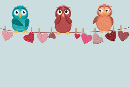 three cute colored owlet sitting on a string. A red hearts with a picture hanging on a rope.  Valentines Day. Vector illustration. Greeting card with empty space for the label or advertising.