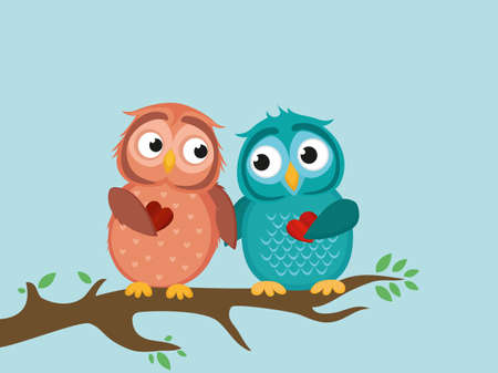 owlet: A pair of cute owlet sitting on a branch. Owls in love hold hearts for each other. Greeting card for Valentines Day. Vector illustration a blue sky background and white clouds