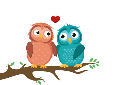 A pair of cute owlet sitting on a branch. Owls in love hearts around them. Greeting card for Valentines Day. Vector illustration